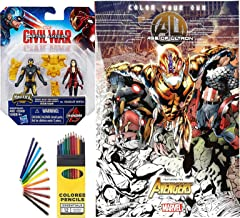 Avengers Marvel Age of Ultron Coloring Book Images + Characters: Now Iron Man and Scarlet Witch. Marvel Miniverse Colored Pencils Figure Series Super Hero Art Set Pack