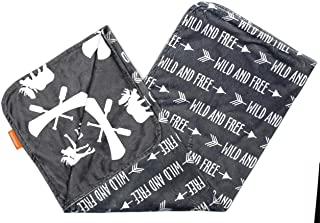 Dear Baby Gear Deluxe Baby Blankets, Custom Minky Print Double Layer, Grey Wild and Free and Moose with Canoe, 38 inches by 29 inches