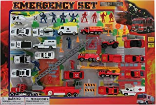 Metro Police Force & Fire Rescue Emergency Crew 44 Piece Mini Toy Diecast Vehicle Play Set, Comes with Street Play Mat, Variety of Vehicles and Figures