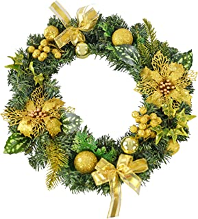 HOME-X Front Door Christmas Wreath with Gold Bows and Ornaments, for Home Wall, Window, Staircase, Door Décor, Outdoor Win...