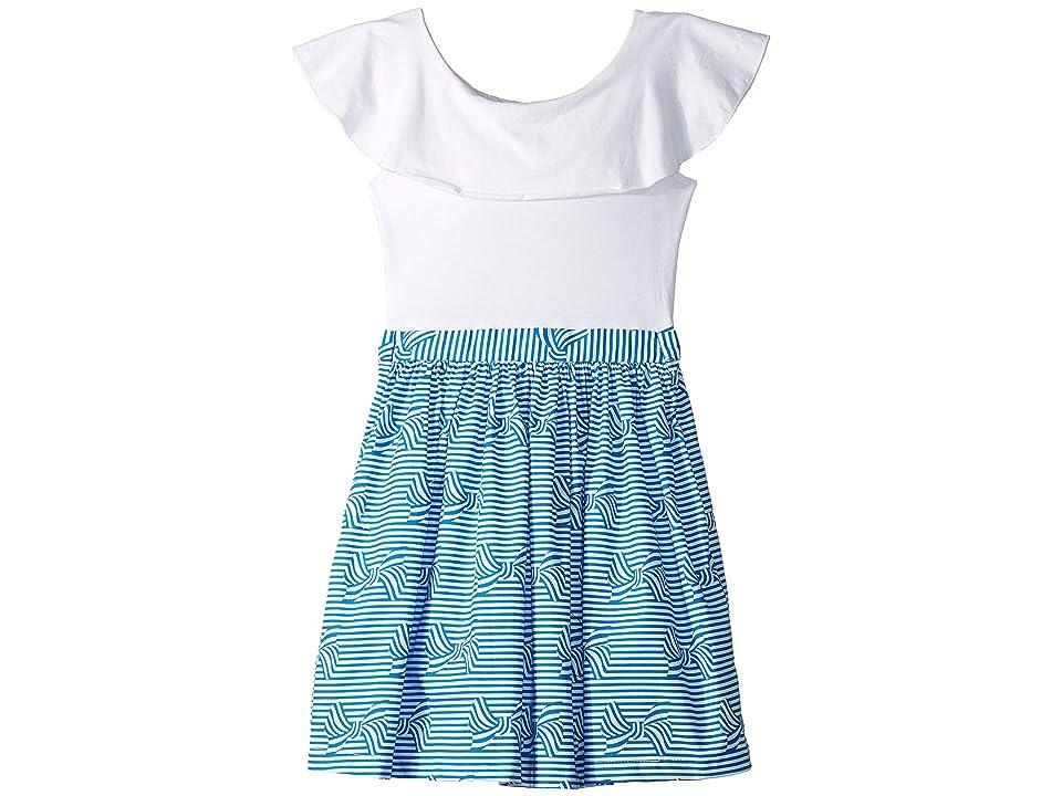 fiveloaves twofish Ruffle Collar Bow Dress (Toddler/Little Kids/Big Kids) (Blue) Girl