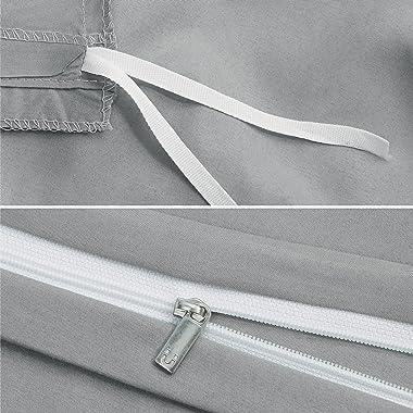 Bedsure Grey Duvet Covers Queen Size - Brushed Microfiber Soft Queen Duvet Cover Set 3 Pieces with Zipper Closure, 1 Duvet Co