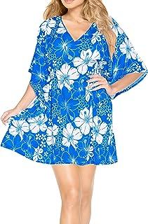 LA LEELA Robes de Plage Grande Taille Tunique Pull Femme Col V Cordon de serrage Kimono Boh/ême Mode Mousseline de soie Bikini Cover Up Blouse Maillot De Bain Caftan Sarong Pareo /Ét/é Chemisier Haut Top