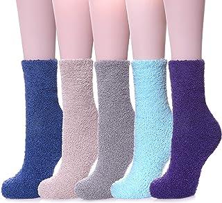 FNOVCO Womens Plush Slipper Socks Super Soft Winter Warm Fuzzy Cozy Home Sleeping Socks (5 Pairs Solid Colors 02)