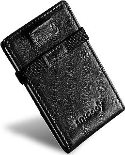 smoody® Tarjetero para 10 Tarjetas de Credito Bloqueo RFID Cartera Minimalista Hombre y Mujer Pequeña Billetera con Elásti...