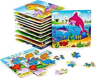 BleuZoo 12 Mini Puzzles for Kids - Party Favors for Children Toddlers Preschool - Dinosaur, Train, Dolphin, Car, Airplane, School Bus, Lion Etc (12 Jigsaw Puzzles)