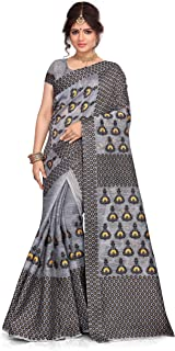 S Kiran's Women's Cotton Blend Saree With Unstitched Blouse Piece, Mekhela & Chador (NuniGrey3201BlackYellow_Grey)