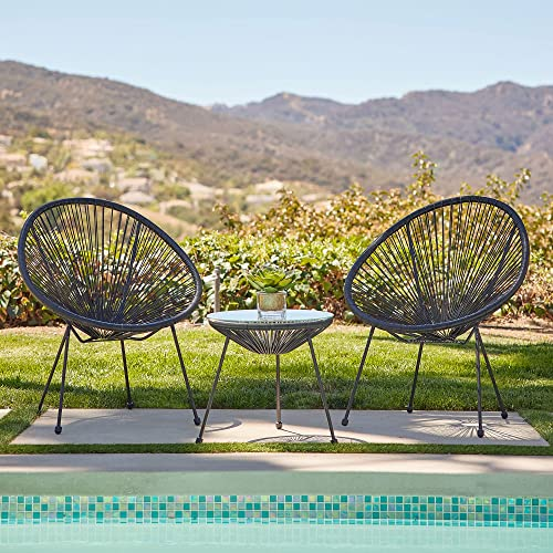 high quality BELLEZE 3-Piece All Weather Acapulco Set Patio Conversation Bistro Set high quality Outdoor Furniture with Plastic Rope 2 Chairs and Glass Top Table, new arrival Black outlet online sale