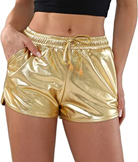 Metallic Shorts for Women Hot Sparkly Shiny Shorts with Elastic Drawstring