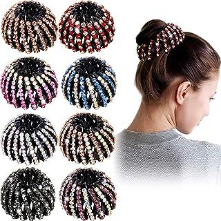 8 Pieces Birds Nest Hair Clip Rhinestone Expandable Ponytail Holder Clip Vintage Ponytail Hairpin Curling Iron Retro Retra...