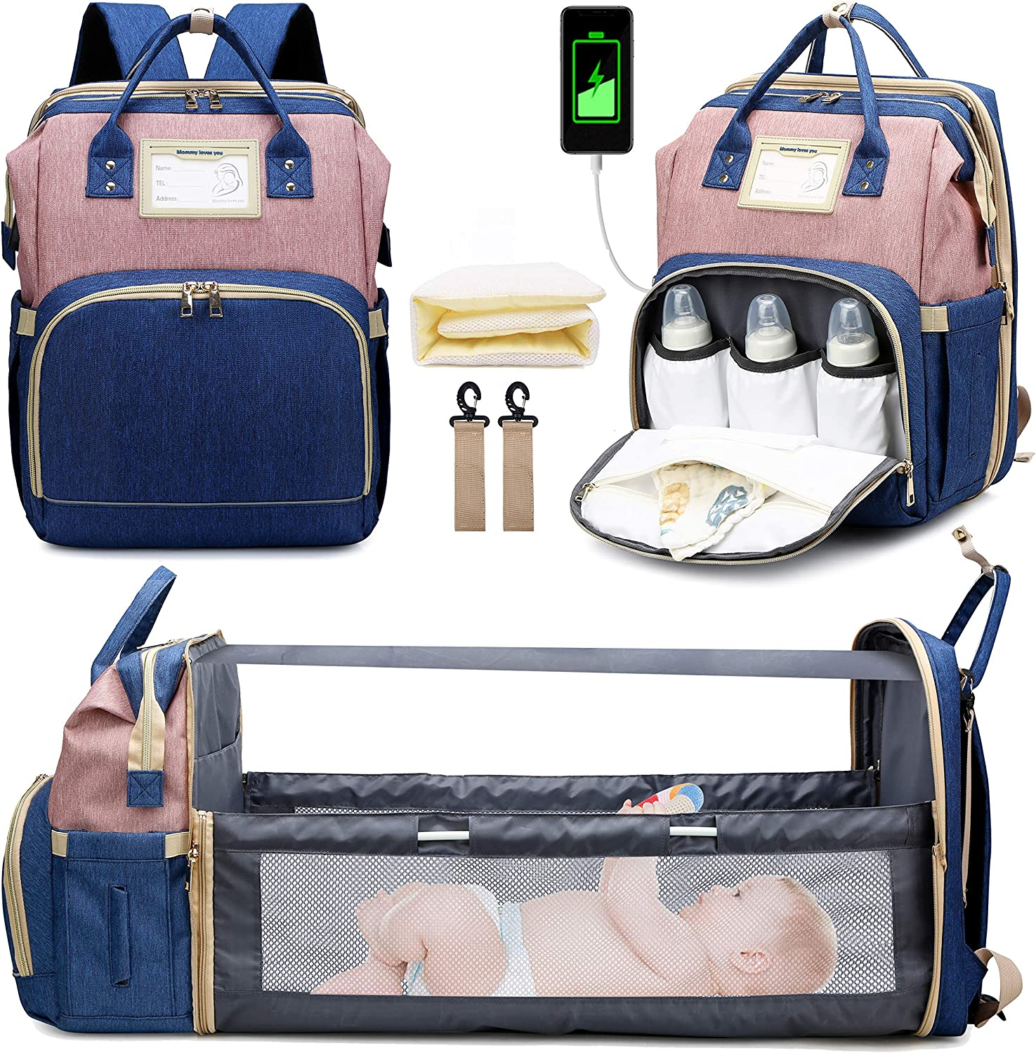 3 in 1 Diaper Bag Backpack with Changing Station, Travel Bassinet Foldable Baby Bed, Baby Bag Portable Crib, Mummy Bag