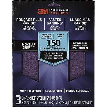3M Pro Grade No-Slip Grip Advanced Sandpaper, 9 X 11-in, 150 Grit, 3/Pack, 25150P-G
