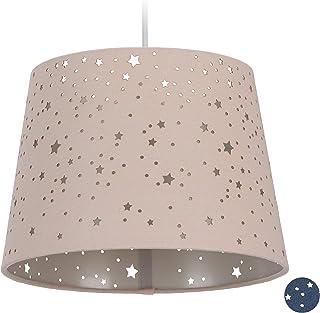 Relaxdays Lámpara de Techo Infantil, Estrellas, Iluminación Colgante para niños, Pantalla Redonda, Rosa