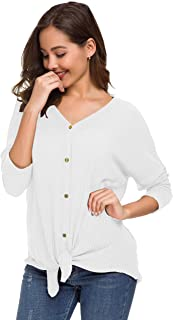 UGET Womens Sweater Waffle Knit Tunic Blouse Tie Knot Henley Tops Loose Fitting Bat Wing Plain Shirts