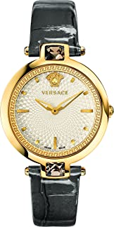 Versace Women's 'Crystal Gleam' Swiss Quartz Stainless Steel and Leather Casual Watch, Color:White (Model: VAN060016)