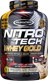 MuscleTech NitroTech Whey Gold, 100% Whey Protein Powder, Whey Isolate and Whey Peptides, Cookies and Cream, 88.48 Ounce