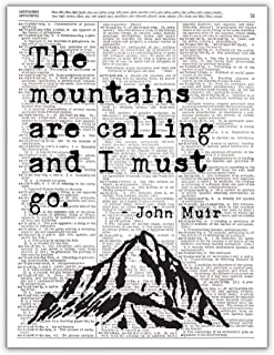 The Mountains are Calling and I Must Go, John Muir Quote, Dictionary Page Photo Print, 8x10, Unframed
