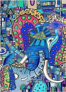 Eduardo Andriacci   Papá Elefante, pintura de serigrafía giclee, 14x19cm con 5cm de maria luisa
