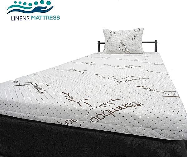 亚麻和更多美国 3 英寸床垫顶部记忆泡沫床顶部 CertiPUR 美国认证可拆卸拉链防过敏竹盖和露营 Mattrss 顶部婴儿床婴儿