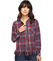 Brigitte Bailey - Reyna Long Sleeve Plaid Top with Fringe