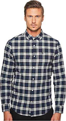Original Penguin - Long Sleeve Heathered Plaid Flannel Shirt