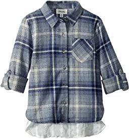 Laced Back Flannel Top (Big Kids)