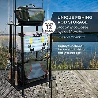 Rush Creek Creations 12 Fishing Rod Storage Tackle Cart -...