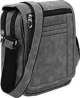 DAHSHA Stylish PU Leather Multi Pocket Sling Cross Body Travel Office Business Messenger one Side Shoulder Bag for Men & W...