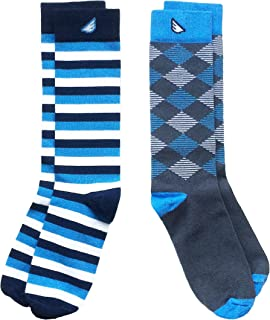 Mens Cotton Premium Quality Colorful Fun Patterned Dress Socks 2-Pack, Made in America