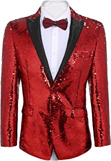 81f3fadedf9f COOFANDY Men's Shiny Sequins Suit Jacket Blazer One Button Tuxedo for  Party,Wedding,Banquet
