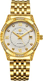 18K Gold Plated Watches for Men Waterproof Luxury Dress Wrist Watch with Date