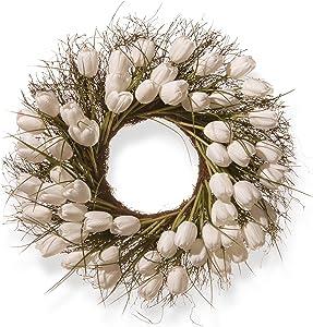 National Tree 24 Inch Branch Wreath with White Tulips (RAS-HY55724W-W1)