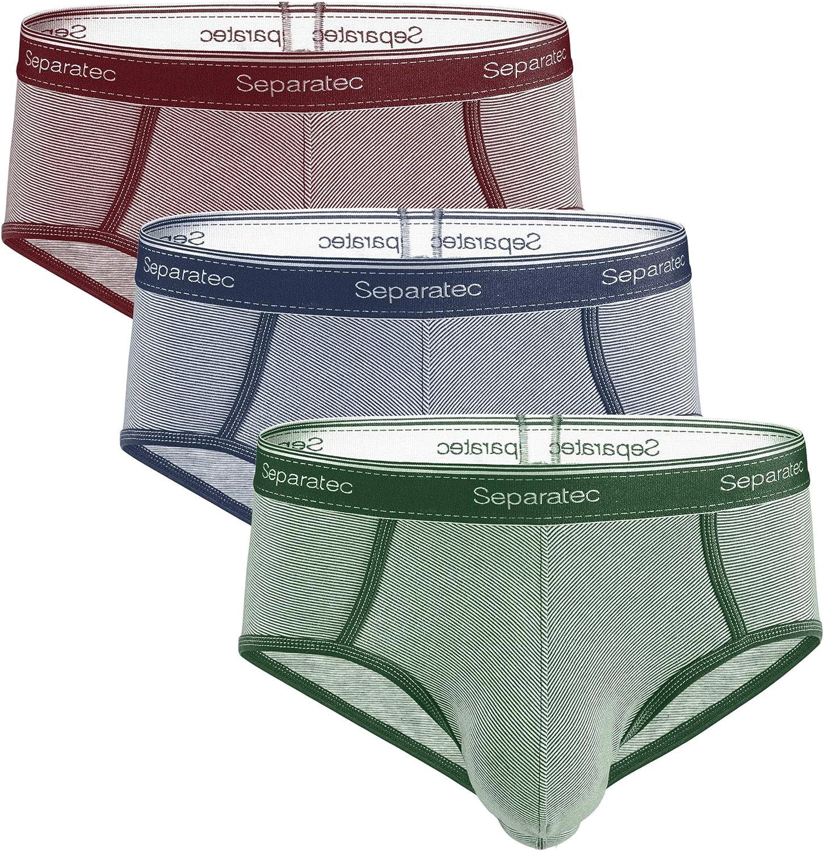 Separatec Men's Underwear Multipack Stripe Pattern Classic Fit Cotton Briefs 3 Pack