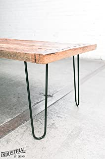 "Industrial By Design - 12"" Hairpin Table Legs - (Satin Black) Elegant Mid Century Modern - Two Rod Design - Premium Heavy Duty Build - Easy DIY Installation - Set of 4"