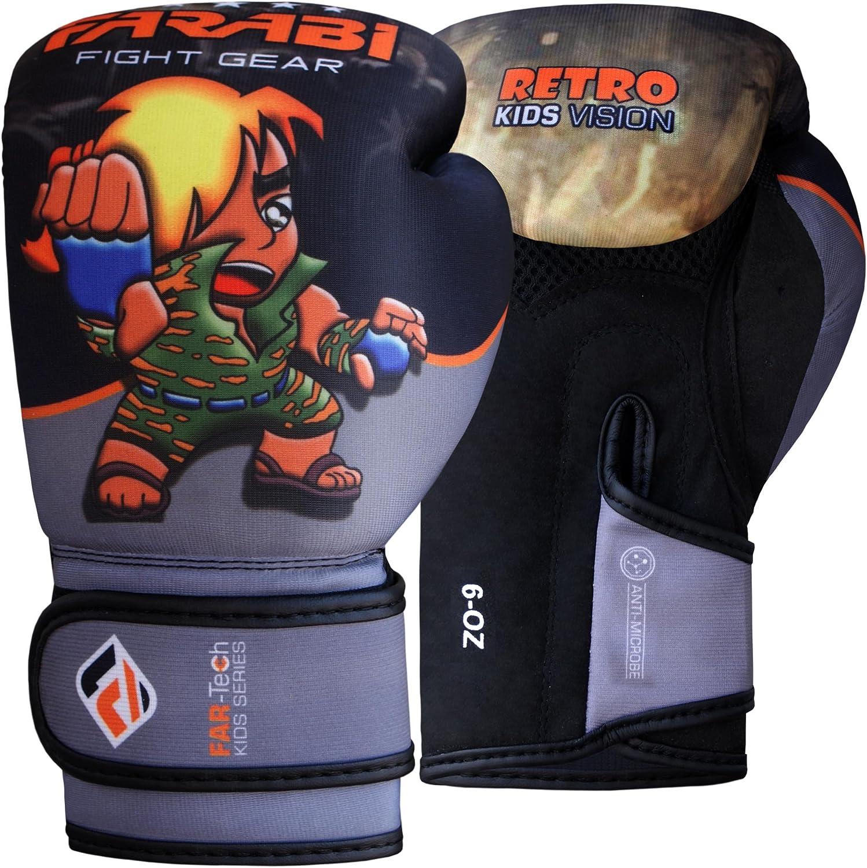 Grey Black, 6-oz Farabi Boxing Gloves Kids Junior Muay Thai Kick Boxing Training MMA Punching Bag