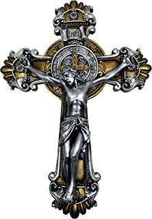 St. Benedict Two Tone Wall Cross Crucifix with Beautiful Symbolic Details Antique Gold and Silver Metal Finish 10,25
