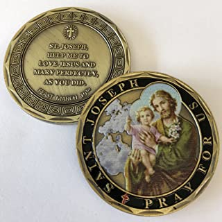 Aizics Mint ST. Joseph Pray for US Catholic Commemorative Coin. Cast with Colorized Saint and Beautiful Iron Plating & Ancient Bronze Original one-of-a-Kind Design.