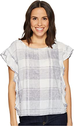 TWO by Vince Camuto - Extend Shoulder Ruffled Sleeve Quaint Plaid Blouse