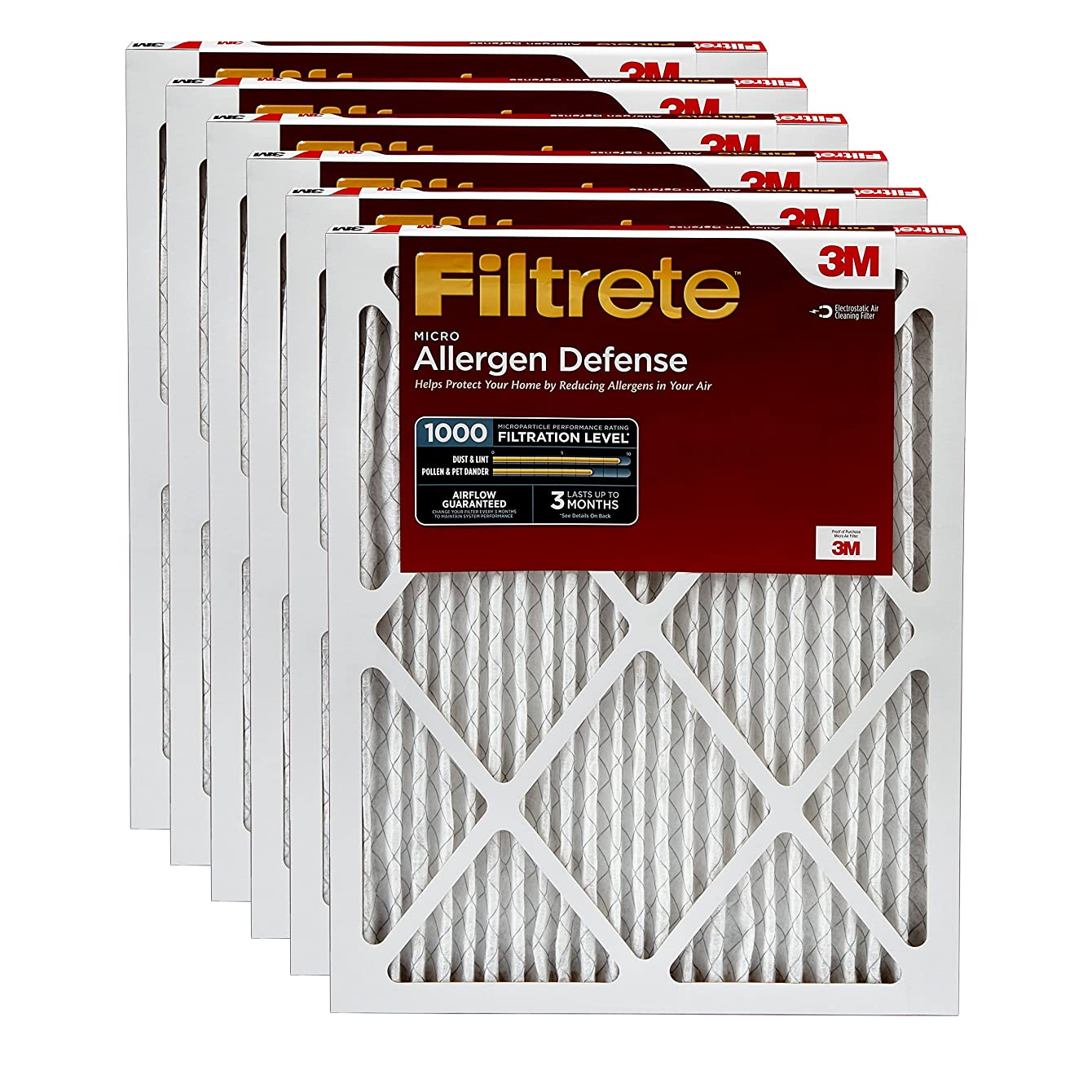 Filtrete 24x24x1, AC Furnace Air Filter, MPR 1000, Micro Allergen Defense, 6-Pack