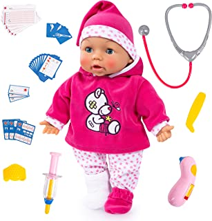Bayer Design 93841AA Baby Doctor, Function Dolls with Accessories, Soft Body, Sleeping Eyes, Interactive, Moving Tongue, P...
