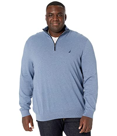Nautica Big & Tall Big Tall Sweater Mock Neck (Deep Anchor Heather) Men