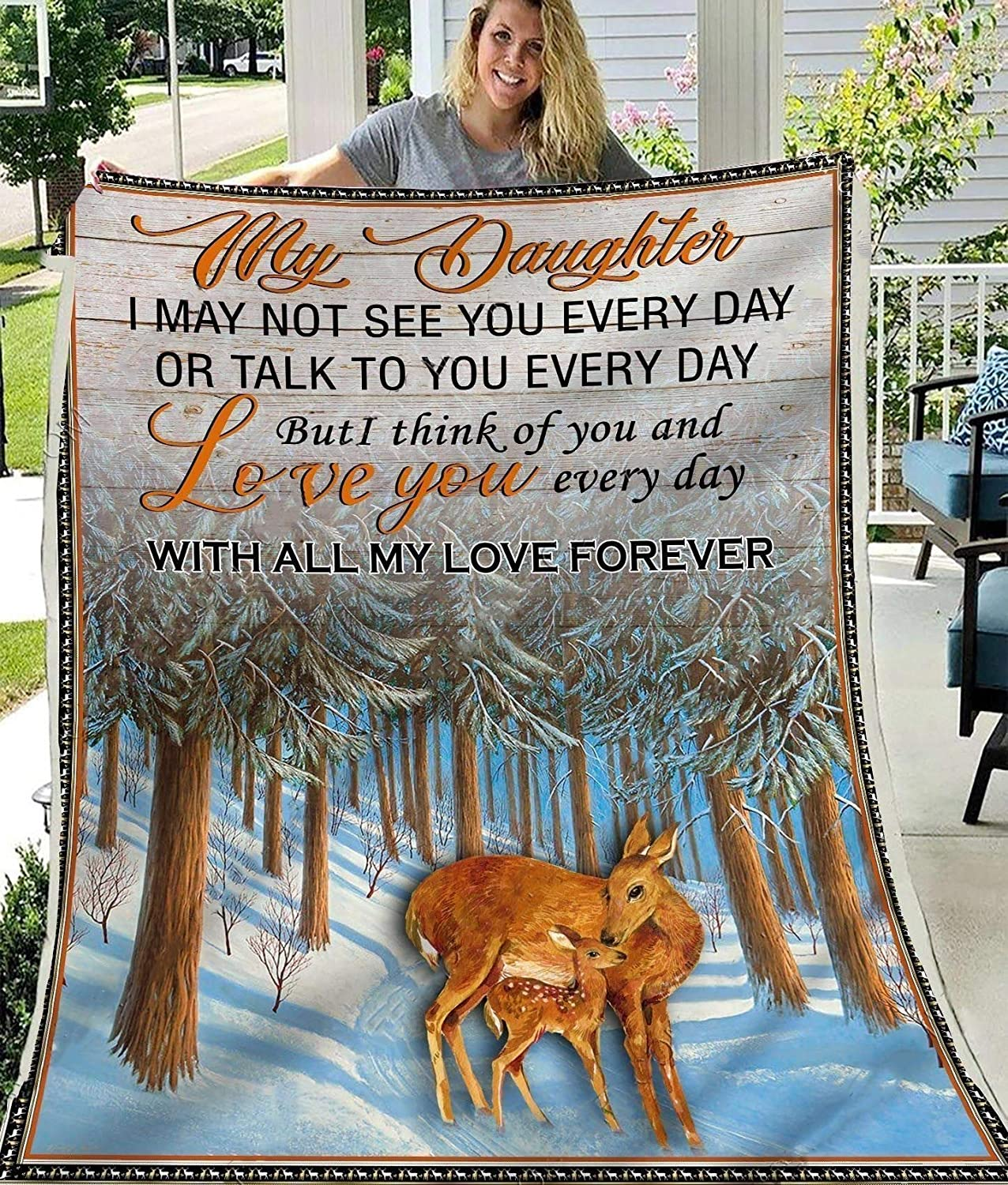 Deer Blanket to My for Daughter from 5 ☆ Super sale popular Mom