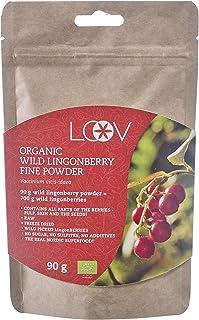 Arándano rojo silvestre orgánico en polvo obtenido 100% a partir de fruta entera, elaborado en forma artesanal procedente de los bosques del norte de Europa, suministro para 18 días, contiene antioxidantes naturales, 90 g, crudo, superalimento.