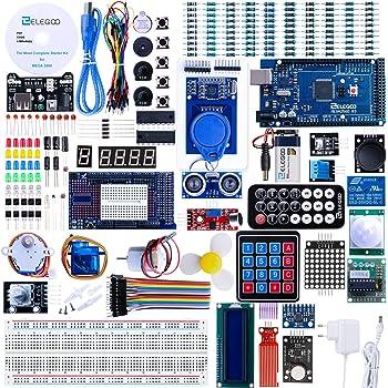 ELEGOO Conjunto Mas Completo y Avanzado de Iniciación Compatible con Arduino IDE Mega 2560 con Guías Tutorial en Español y Conjunto con Placa Controladora Mega 2560 R3, Servomotor, Motor Paso a Paso:
