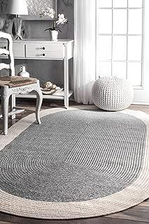 nuLOOM Delaine Braided Solid Border Indoor/Outdoor Rug, 8' Round, Grey