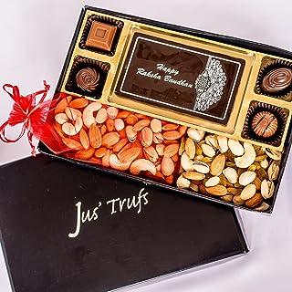 Jus'Trufs Rakhi Delight Chocolate Box with Dry Fruits for Raksha Bandhan