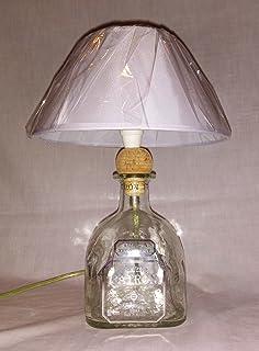 Lampada arredo da tavolo bottiglia vuota Tequila Patron SILVER abatjour abat jour riciclo creativo riuso idea regalo