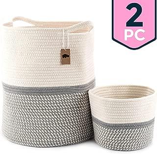 17.3 x 15 x 14.1Laundry Basket with Handle and Tassel Large Blanket Basket Corn Skin Woven Cotton Rope Storage Basket White Baby Nursery Hamper Toy Organizer,Neutral Home Decor Gift