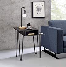 Kings Brand Furniture - Vicente Side End Table - Night Stand, Metal/Wood, Black