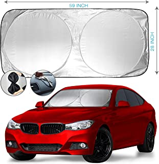 Car Windshield Sun Shade + Bonus Gift - Heat & Sun Protector, Compact Storage with Strap, Quick & Easy Installation, UV Ray Deflector | Black/Silver Sides (59